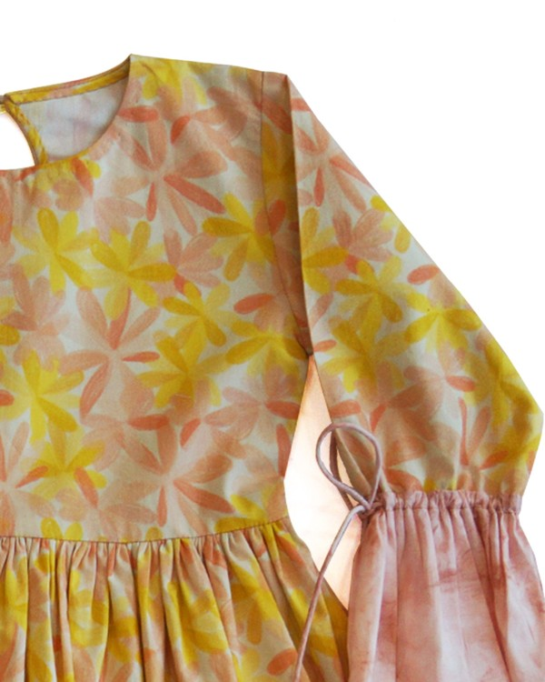 Apricot blooms gathered dress 1