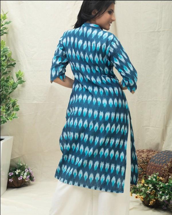 Aqua Blue Ikat printed kurta 3