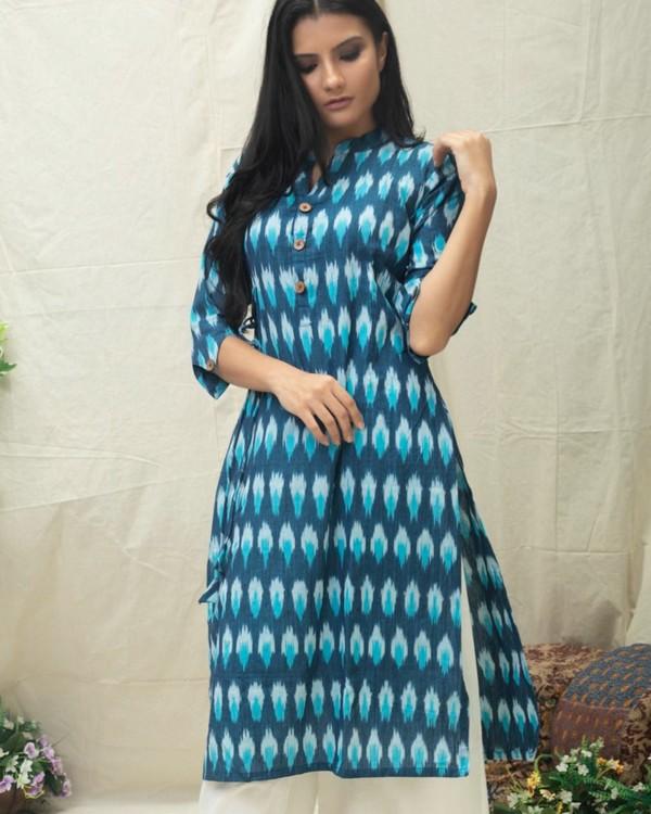 Aqua Blue Ikat printed kurta 1