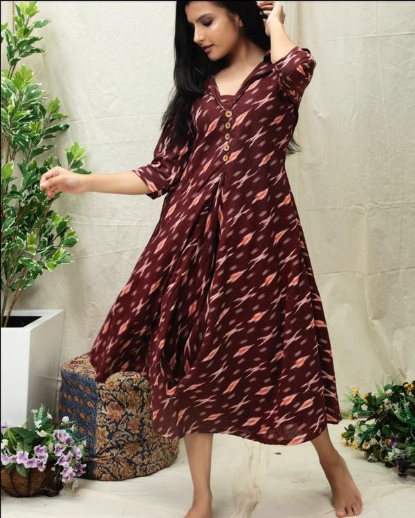 Wine Ikat printed flared dress 2