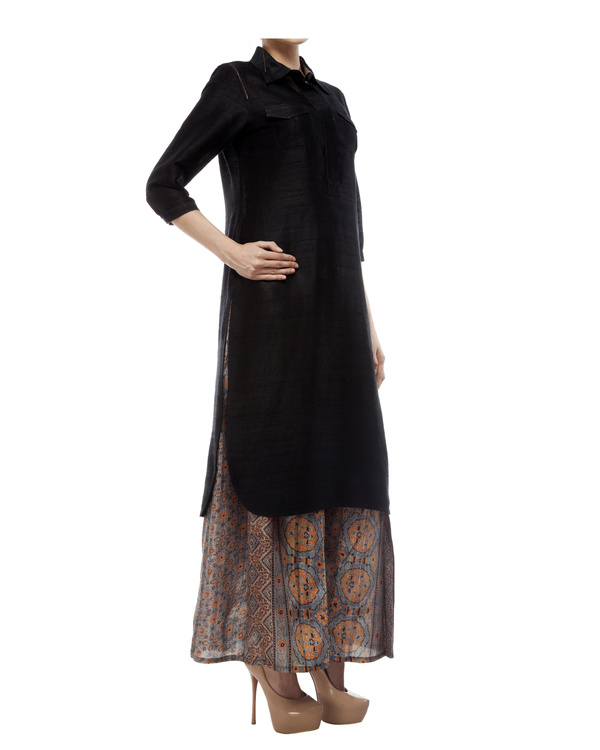 Black tunic with ajrakh detailing 2