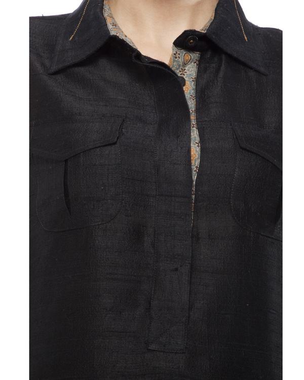 Black tunic with ajrakh detailing 4