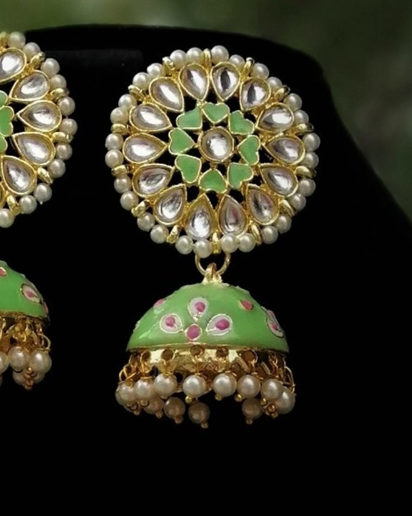 Lime green meenakari earrings 1