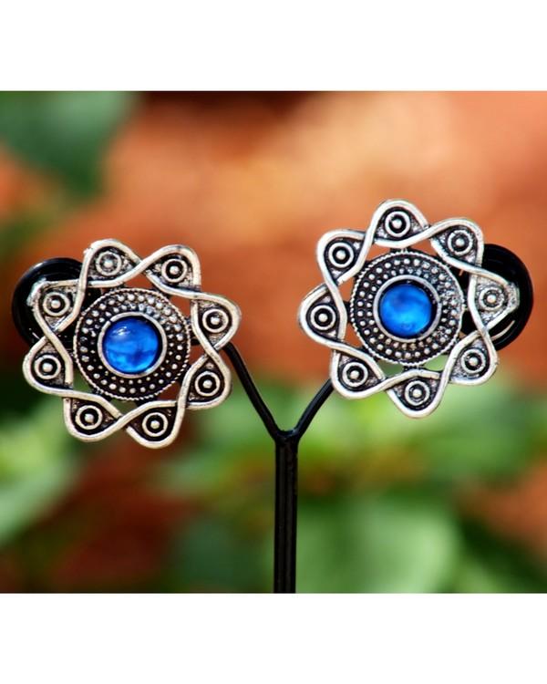 Blue stone stud earrings 1