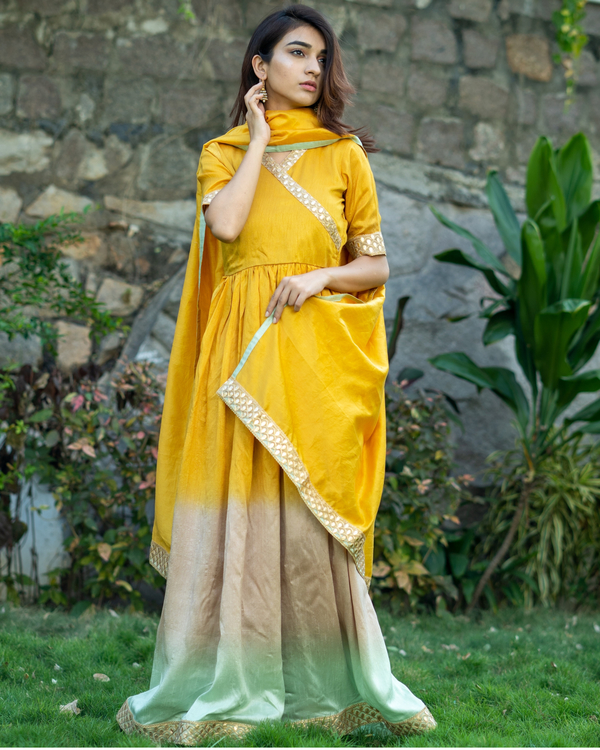 Ombre gathered dress with gota lace detailing and dupatta  - set of two 2