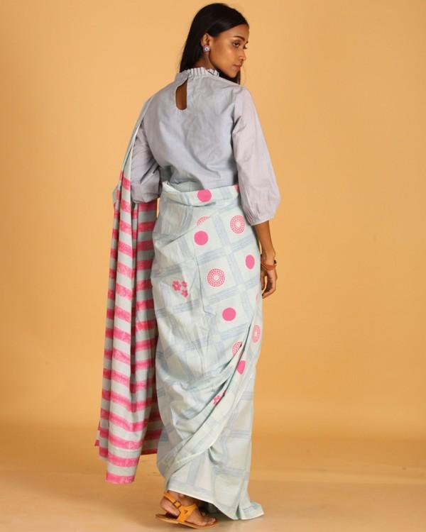 Pastel blue block printed sari 2