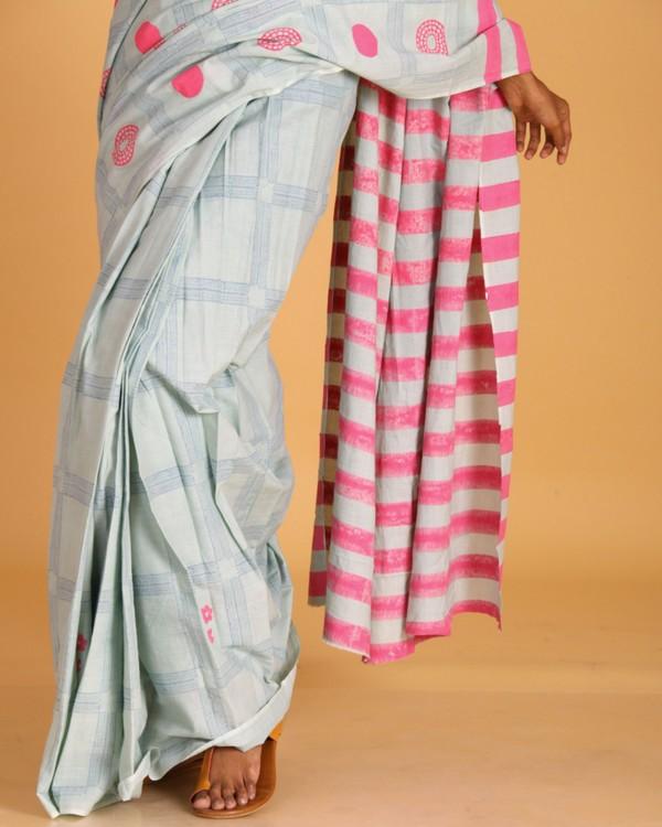 Pastel blue block printed sari 1