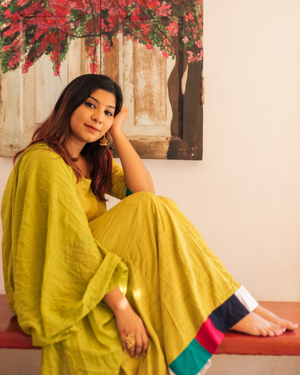 Olive Meander Maxi with Dupatta - Set of Two 1