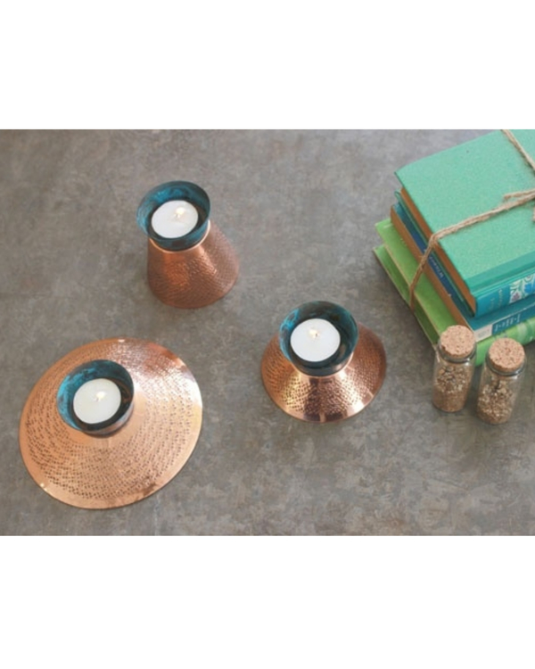Teal appeal tea light holder - medium 1