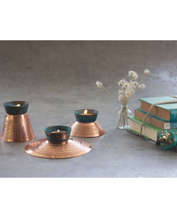Teal appeal tea light holder - large 1