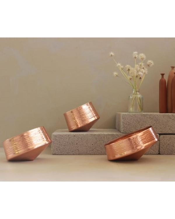 Whirling copper tea light holder - medium 2