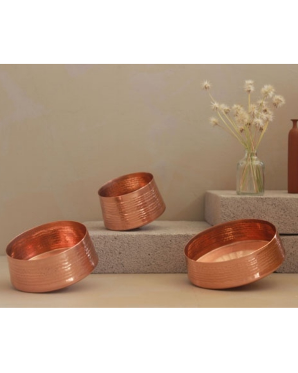 Whirling copper tea light holder - large 2