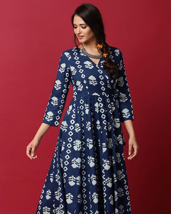 Indigo and white floral printed angrakha dress 1