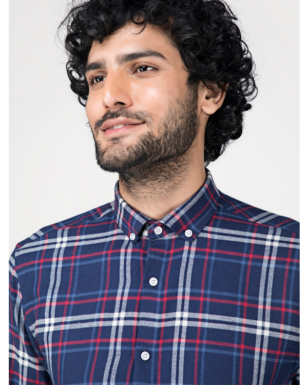 Blue and white tartan checkered shirt 1