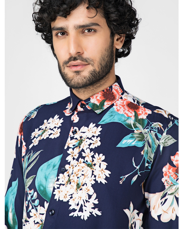 Blue and white floral printed casual shirt 1