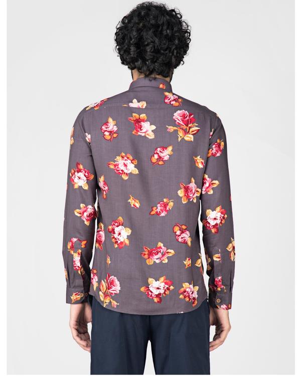 Grey floral printed casual shirt 3