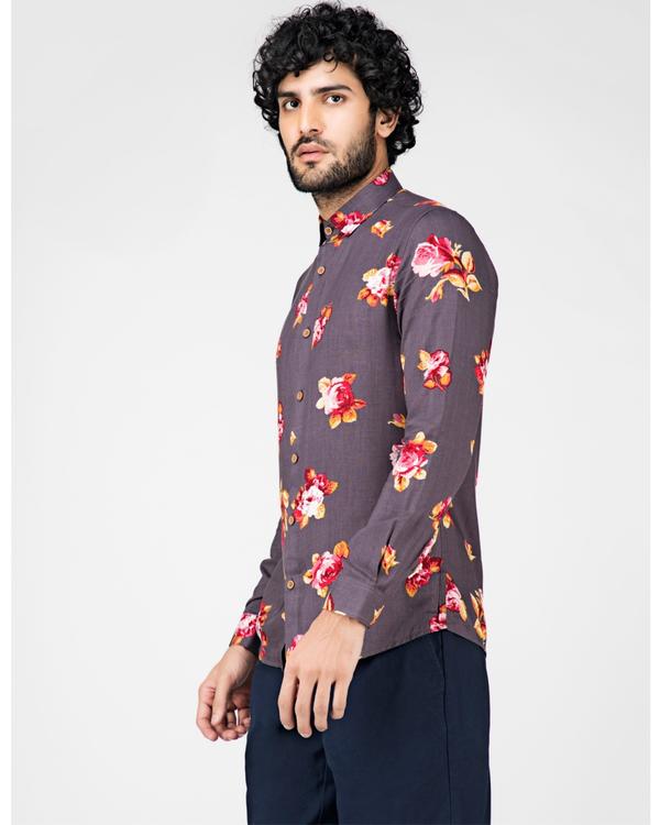 Grey floral printed casual shirt 2