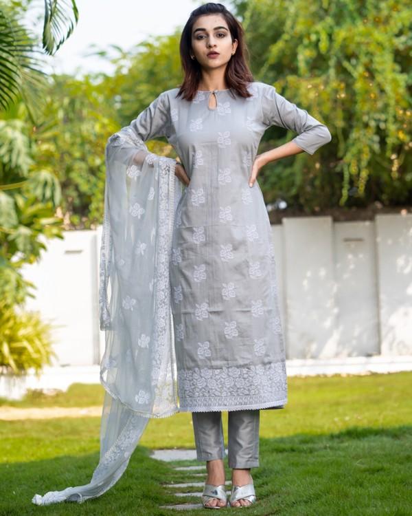 Light greyish blue cross stitch embroidered kurta set with dupatta- set of three 3