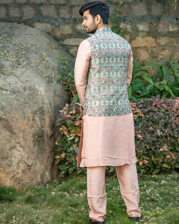 Dusty pink chanderi kurta and pyjama with printed nehru jacket - set of three 2