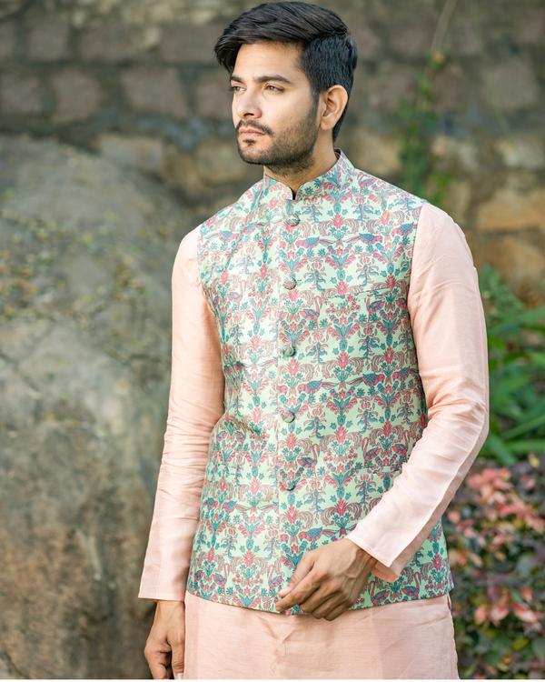 Dusty pink chanderi kurta and pyjama with printed nehru jacket - set of three 1