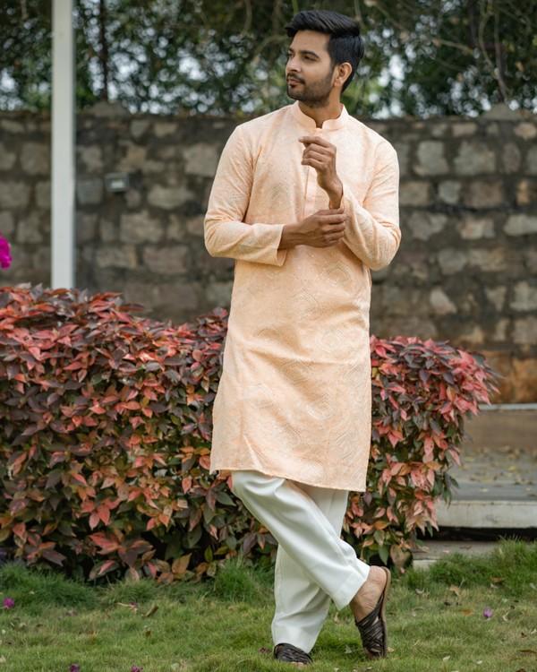 Peach chikankari kurta and off white pyjama set- set of two 2