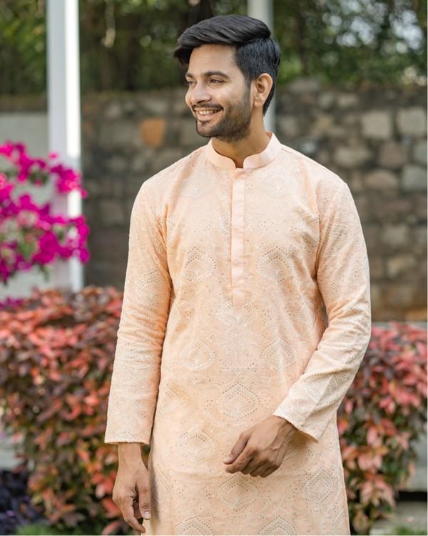 Peach chikankari kurta and off white pyjama set- set of two 1