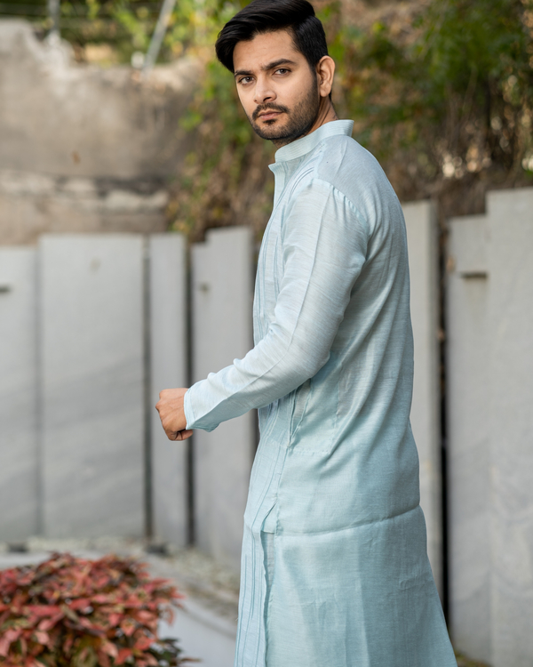 Powder blue pin tuck kurta and pyjama set - set of two 3