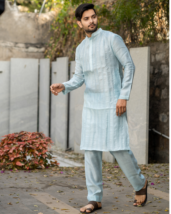 Powder blue pin tuck kurta and pyjama set - set of two 2