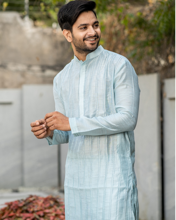 Powder blue pin tuck kurta and pyjama set - set of two 1