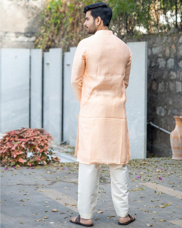 Peach chanderi pin tuck kurta and off white pyjama set- set of two 3