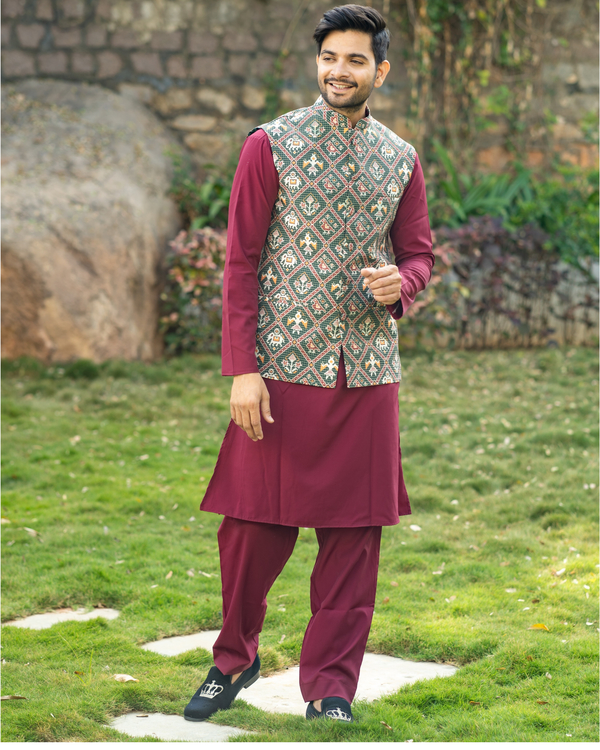 Maroon kurta and pyjama with patola printed nehru jacket- set of three 2