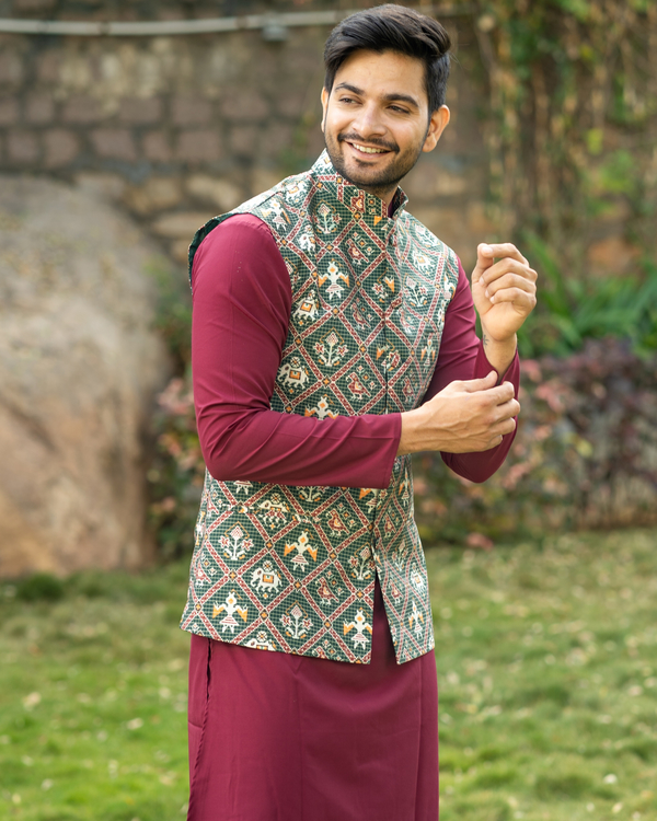 Maroon kurta and pyjama with patola printed nehru jacket- set of three 1