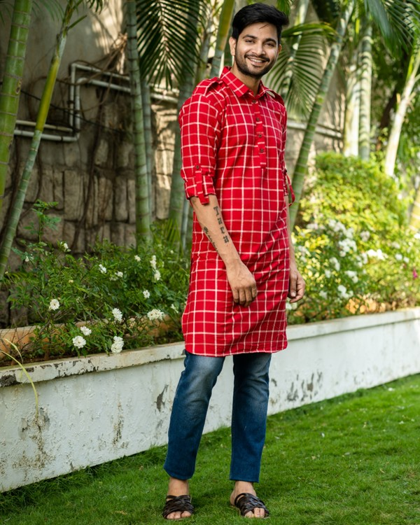 Red checkered kurta with epaulet sleeves 2