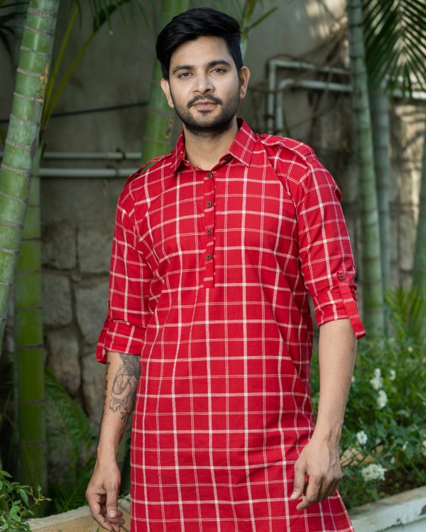 Red checkered kurta with epaulet sleeves 1