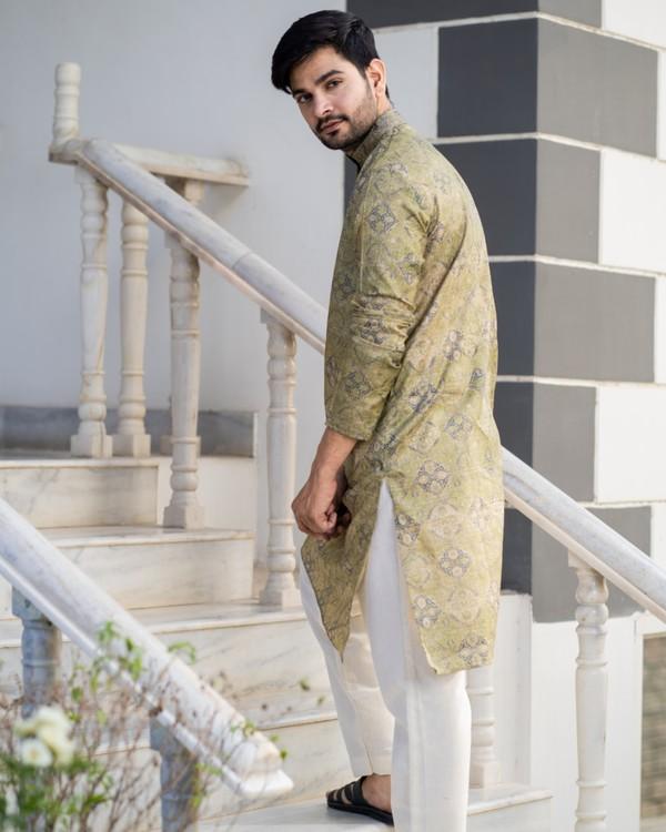 Hazelnut beige printed kurta and pyjama set- set of two 2