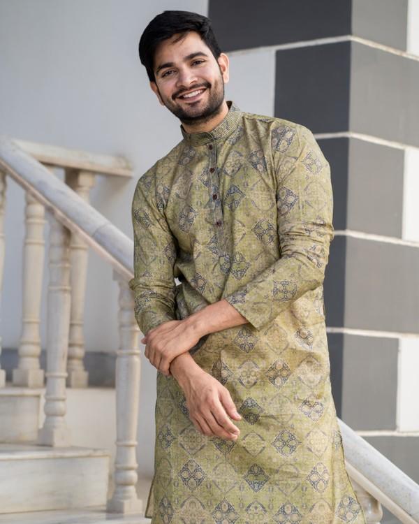 Hazelnut beige printed kurta and pyjama set- set of two 1