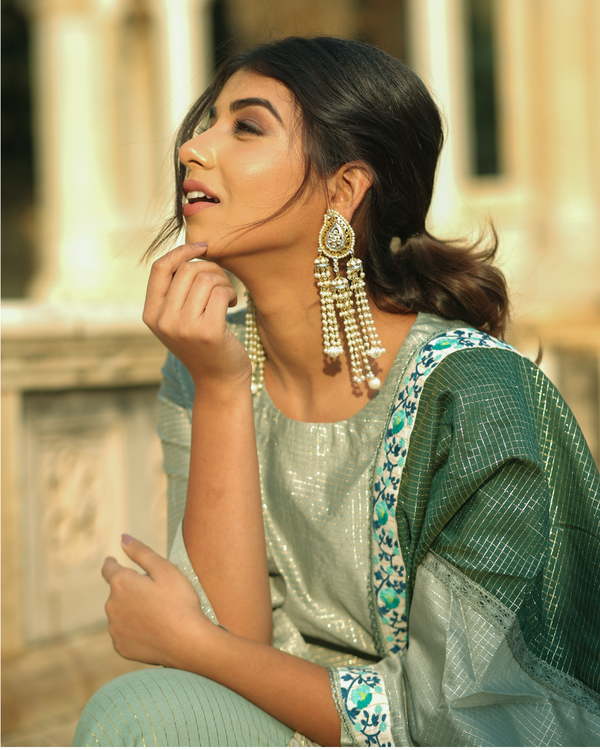 Green and gold gota chanderi kurta and gharara with dupatta set- set of three 1