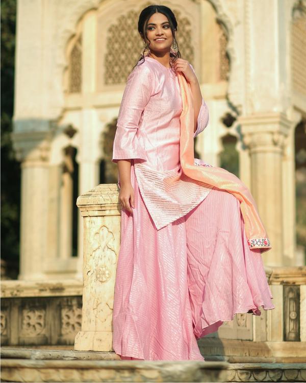 Pink and peach gota chanderi kurta and Gharara with dupatta set- set of three 2