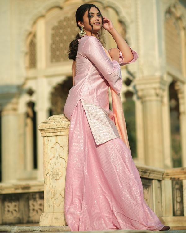 Pink and peach gota chanderi kurta and Gharara with dupatta set- set of three 1