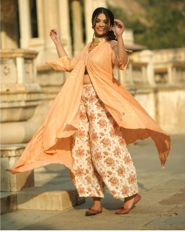Peach and gold handkerchief slit kurta and palazzo set- set of two 2