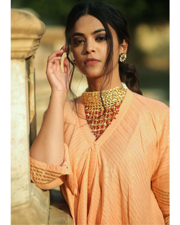 Peach and gold handkerchief slit kurta and palazzo set- set of two 1