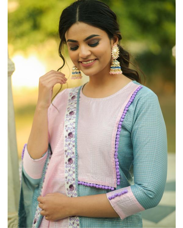 Frost blue and baby pink checkered chanderi kurta and gharara with dupatta- set of three 1