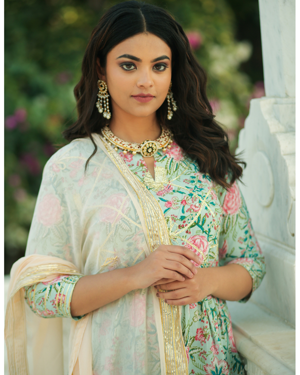Pastel green and pink floral printed gota kurta and pants with chiffon dupatta- set of three 1
