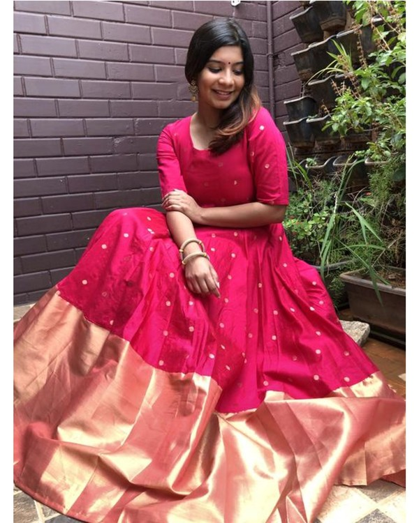 Magenta pink and gold butta anarkali dress 3