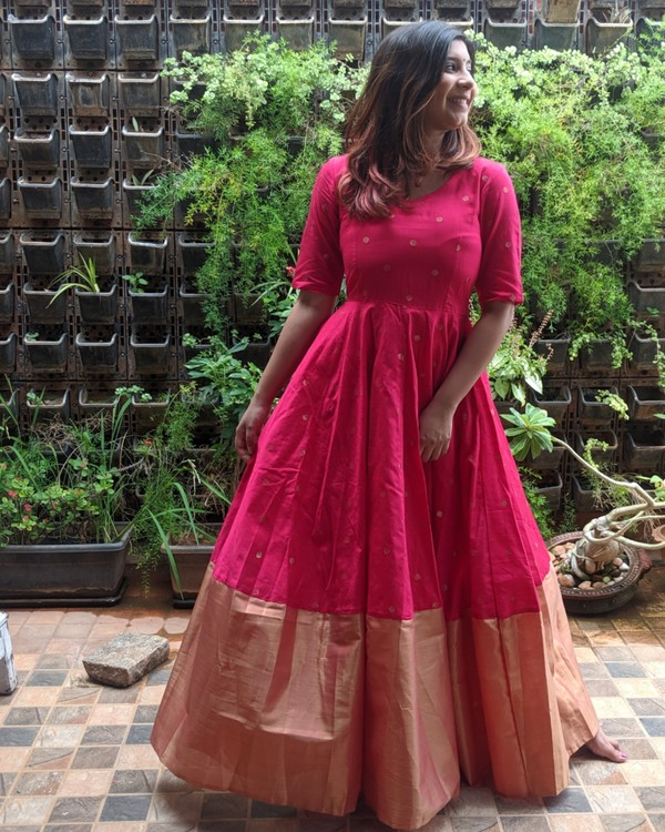 Magenta pink and gold butta anarkali dress 2