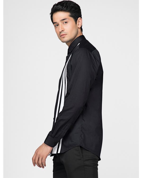 Black and white tri panels striped shirt 2
