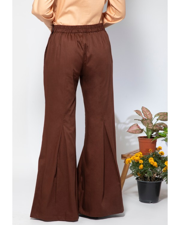 Dark brown embroidered flare pants 3