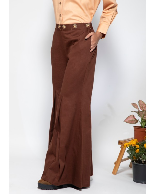 Dark brown embroidered flare pants 2