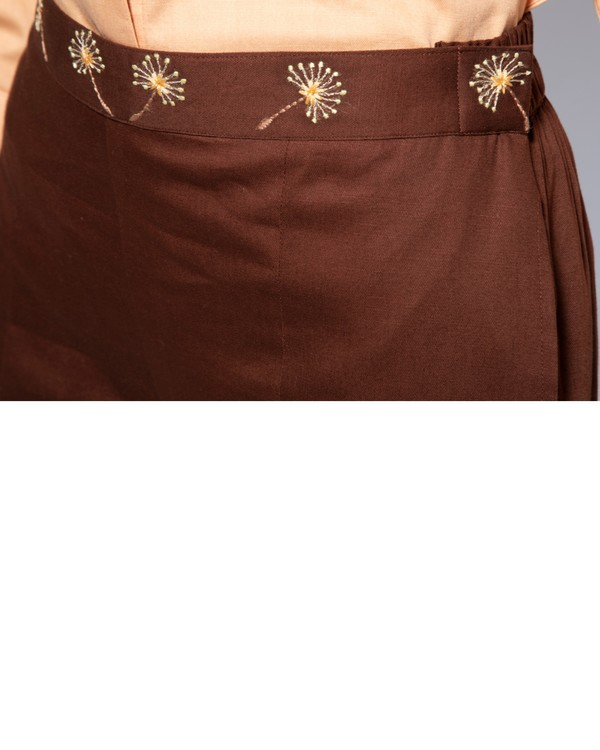 Dark brown embroidered flare pants 1