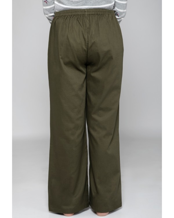 Olive green high waist pants 3